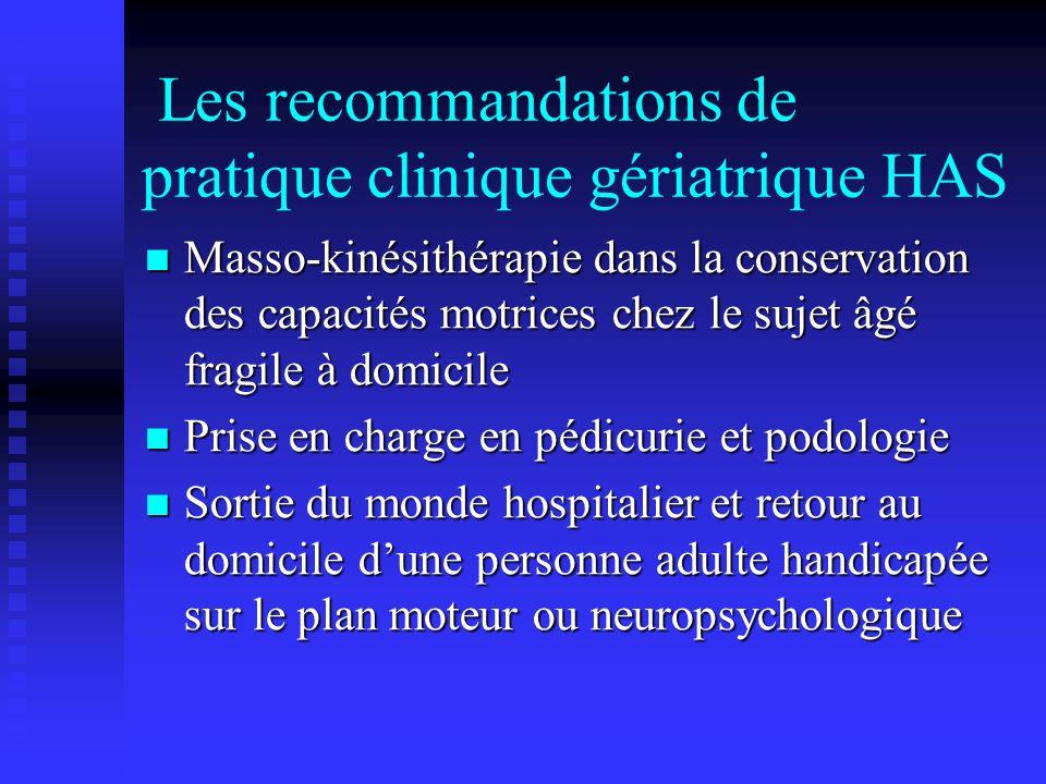 Les recommandations de pratique clinique gériatrique HAS