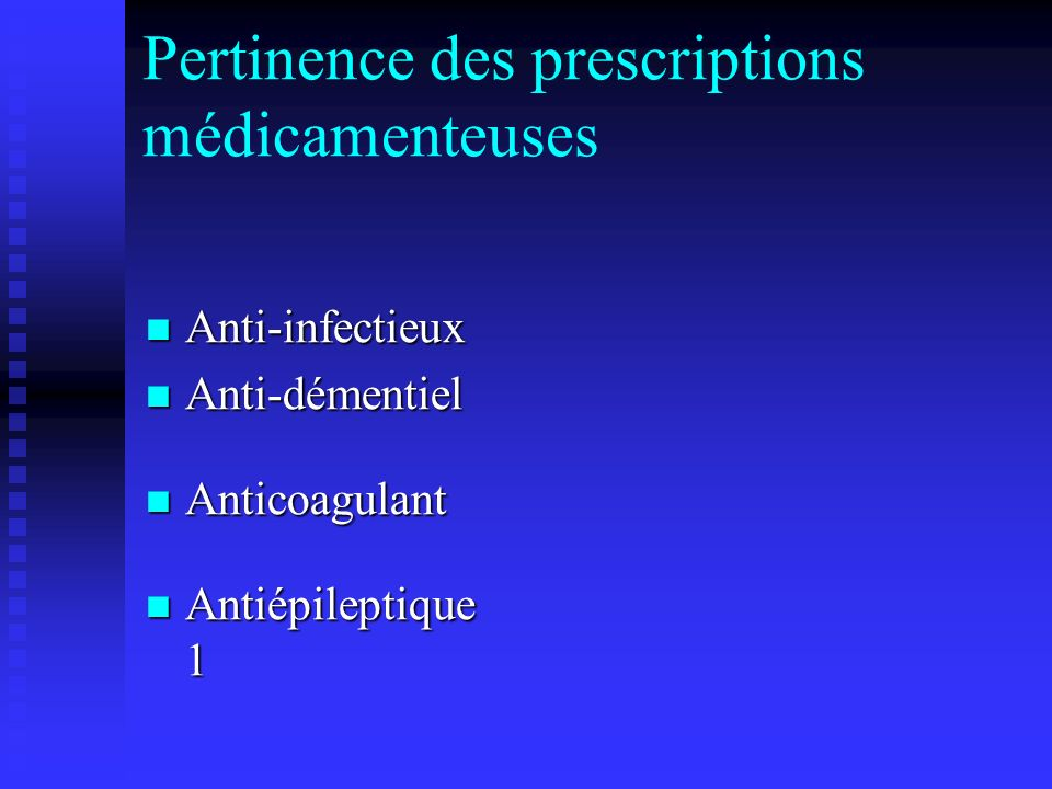 Pertinence des prescriptions médicamenteuses