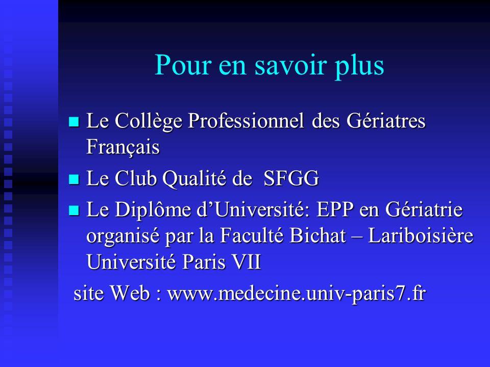 Pour en savoir plus Le Collège Professionnel des Gériatres Français