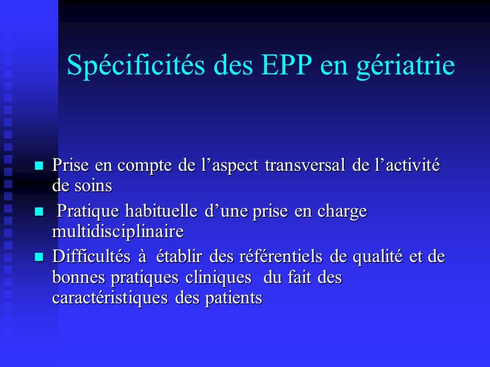 Spécificités des EPP en gériatrie