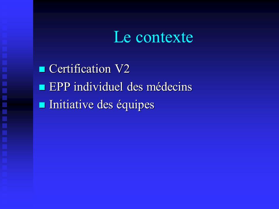 Le contexte Certification V2 EPP individuel des médecins
