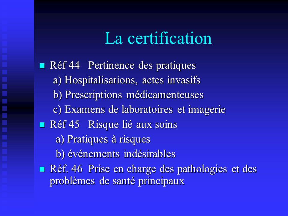 La certification Réf 44 Pertinence des pratiques
