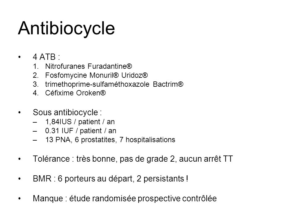 Antibiocycle 4 ATB : Sous antibiocycle :