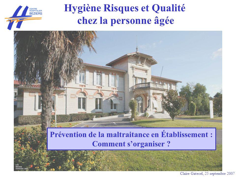 Hygiène Risques et Qualité chez la personne âgée