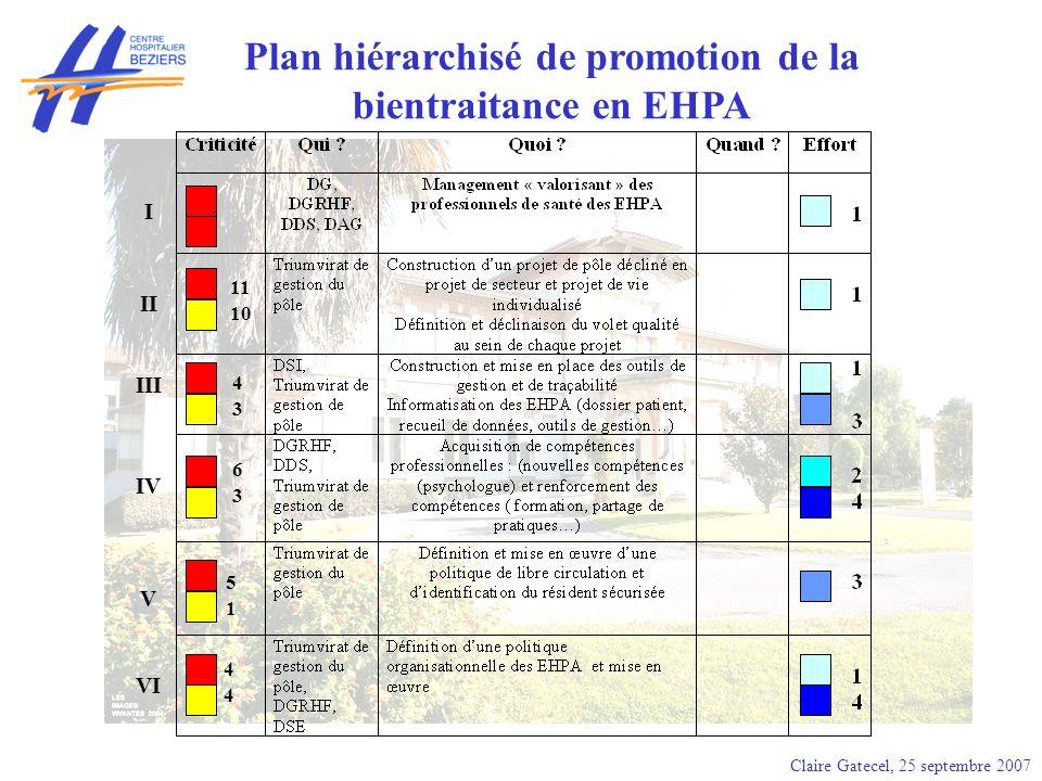 Plan hiérarchisé de promotion de la bientraitance en EHPA