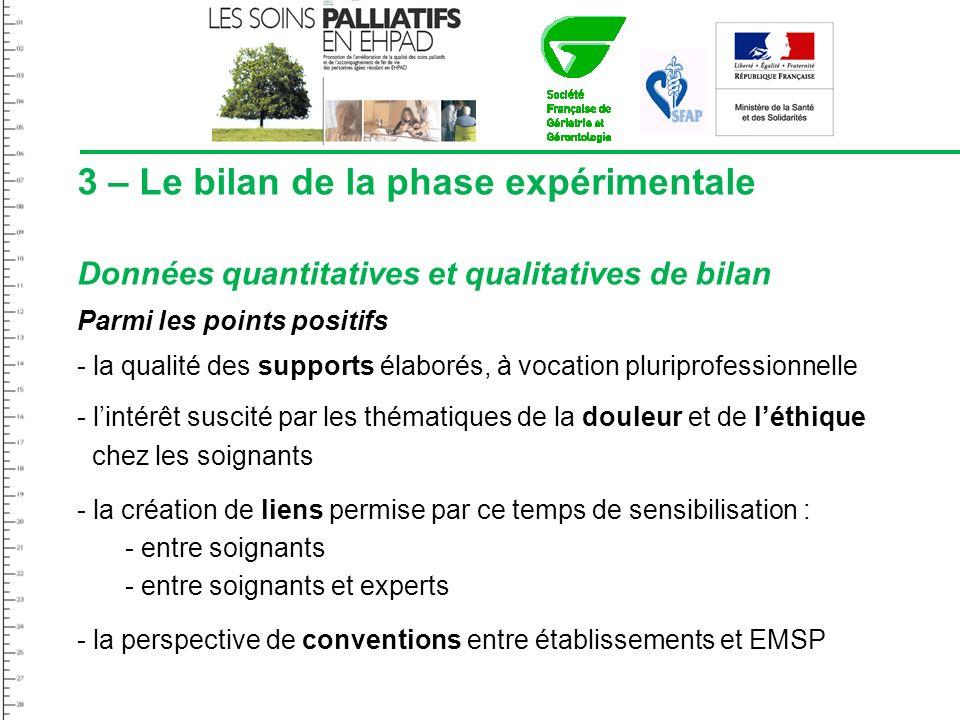3 – Le bilan de la phase expérimentale