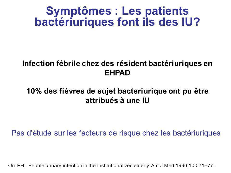 Symptômes : Les patients bactériuriques font ils des IU