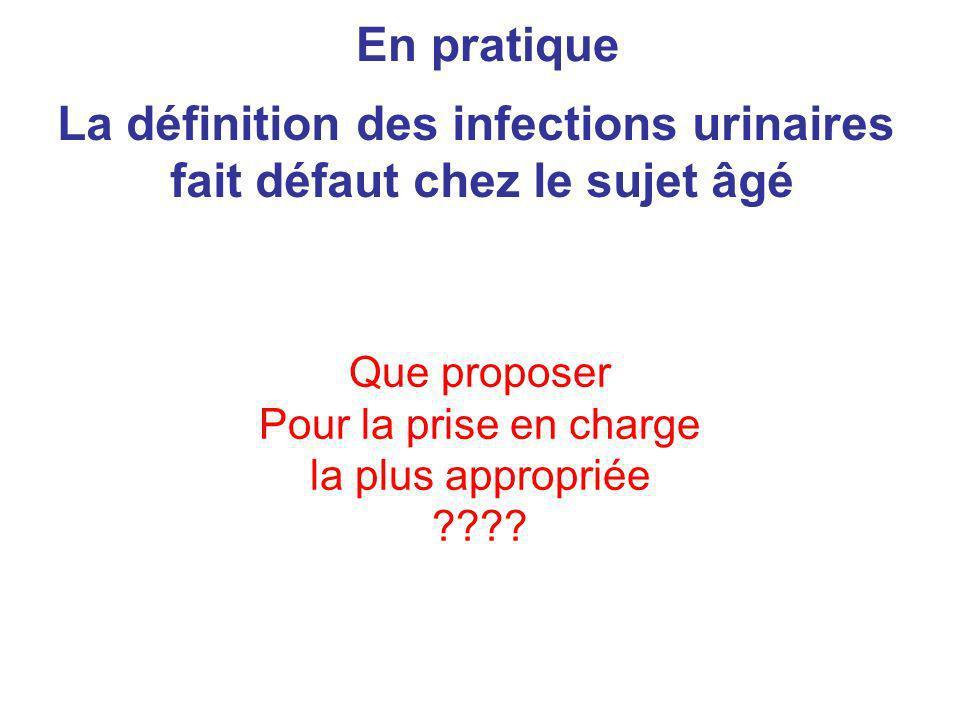 La définition des infections urinaires fait défaut chez le sujet âgé