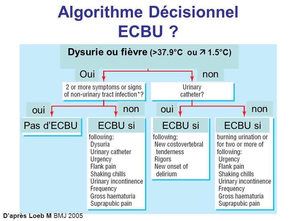 Algorithme Décisionnel Dysurie ou fièvre (>37.9°C ou  1.5°C)