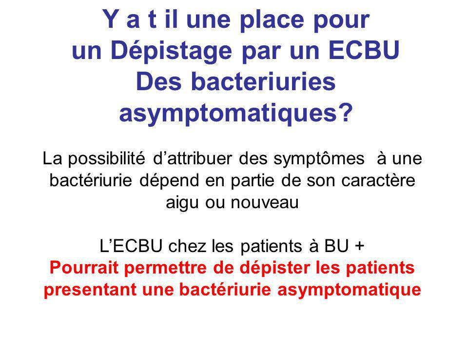 un Dépistage par un ECBU Des bacteriuries asymptomatiques