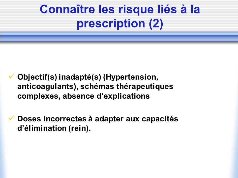 Connaître les risque liés à la prescription (2)