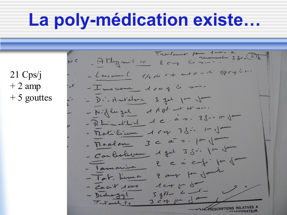 La poly-médication existe…