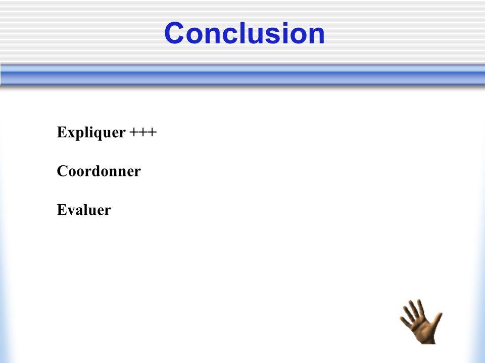 Conclusion Expliquer +++ Coordonner Evaluer