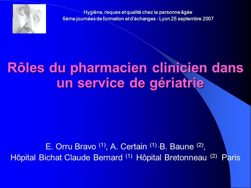 Rôles du pharmacien clinicien dans un service de gériatrie