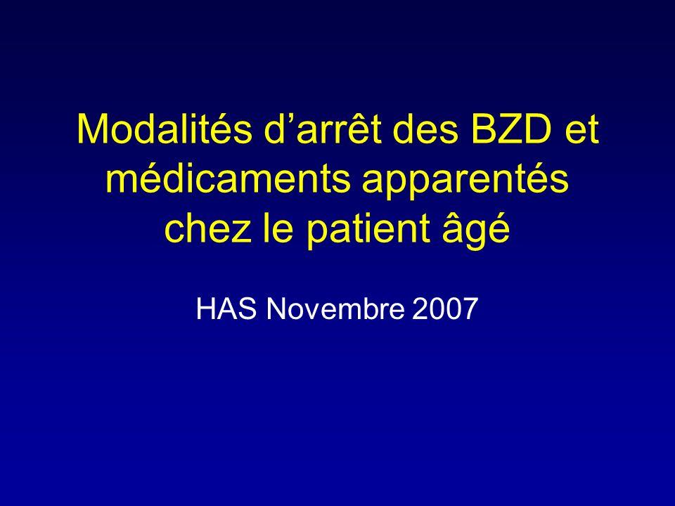 Modalités d'arrêt des BZD et médicaments apparentés chez le patient âgé