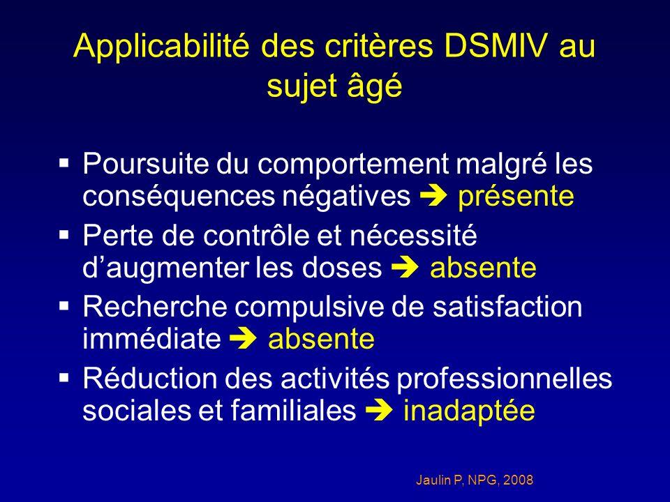 Applicabilité des critères DSMIV au sujet âgé