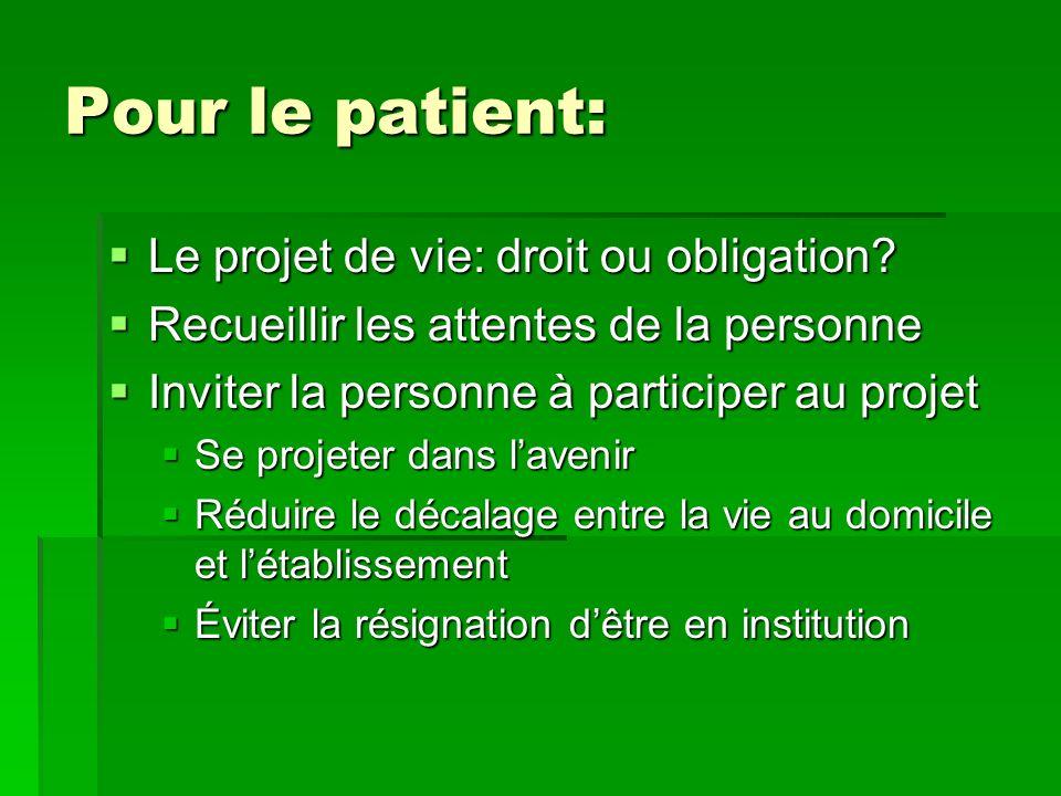 Pour le patient: Le projet de vie: droit ou obligation