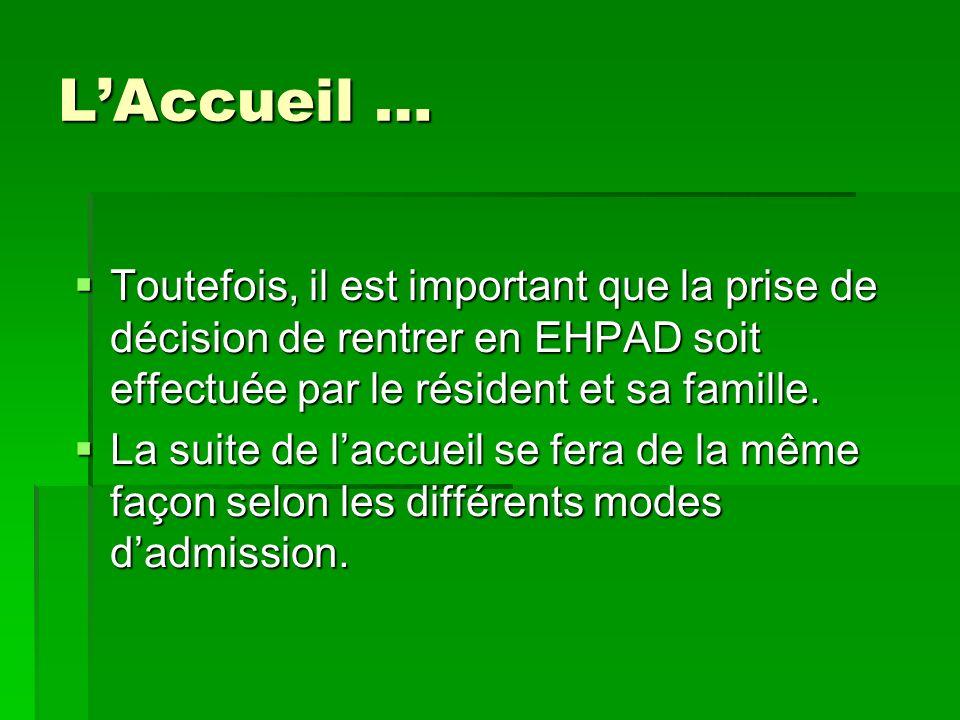 L'Accueil … Toutefois, il est important que la prise de décision de rentrer en EHPAD soit effectuée par le résident et sa famille.