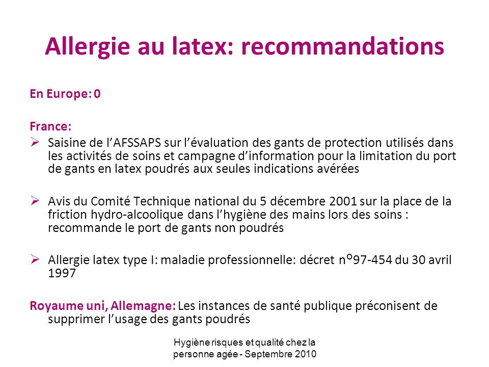 Allergie au latex: recommandations