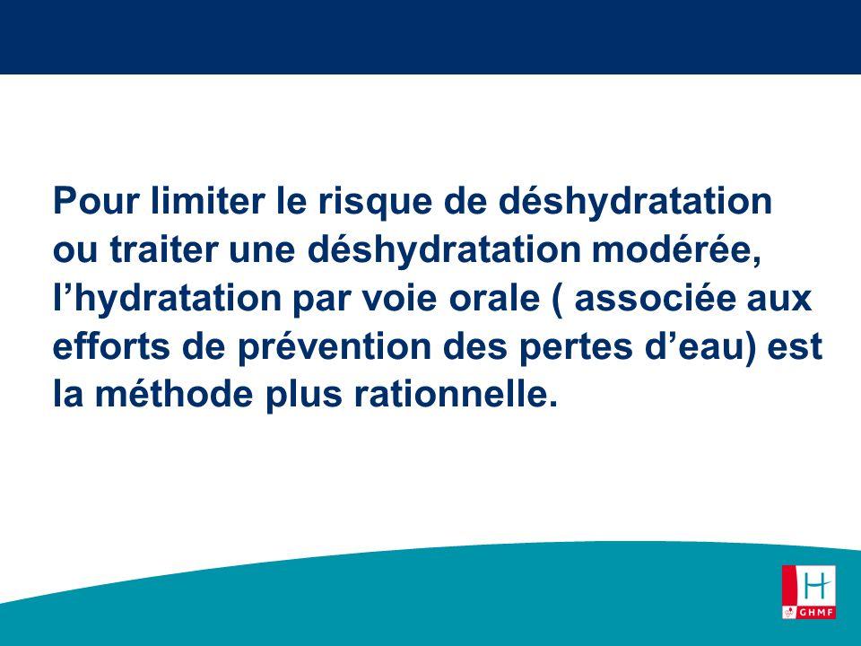 Pour limiter le risque de déshydratation ou traiter une déshydratation modérée, l'hydratation par voie orale ( associée aux efforts de prévention des pertes d'eau) est la méthode plus rationnelle.