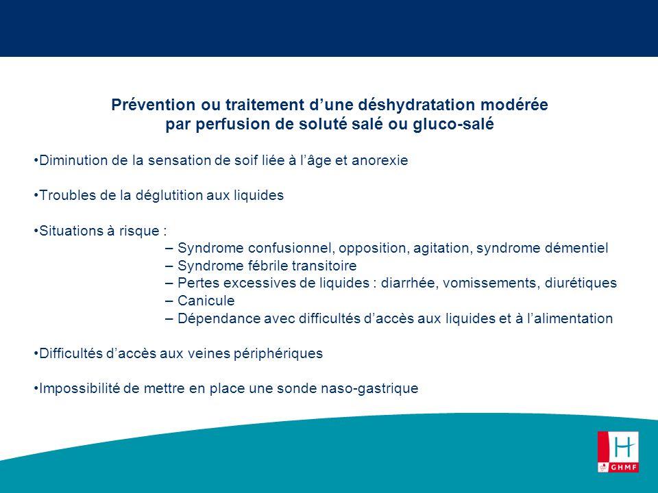 Prévention ou traitement d'une déshydratation modérée