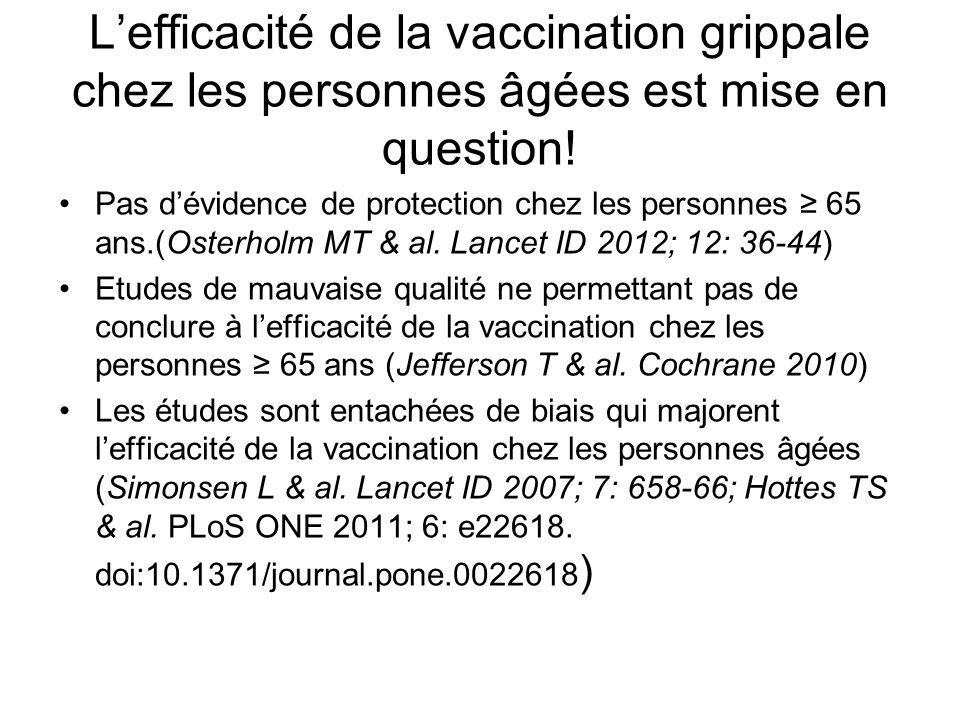 L'efficacité de la vaccination grippale chez les personnes âgées est mise en question!