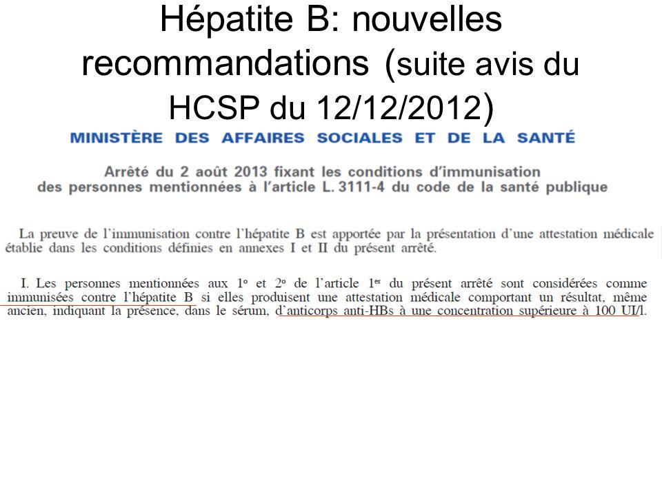Hépatite B: nouvelles recommandations (suite avis du HCSP du 12/12/2012)