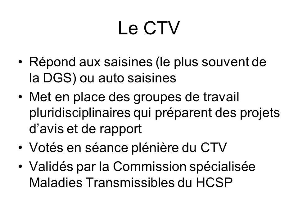 Le CTV Répond aux saisines (le plus souvent de la DGS) ou auto saisines.