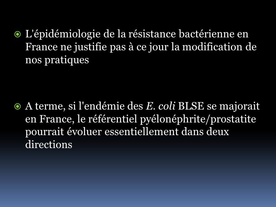 L'épidémiologie de la résistance bactérienne en France ne justifie pas à ce jour la modification de nos pratiques