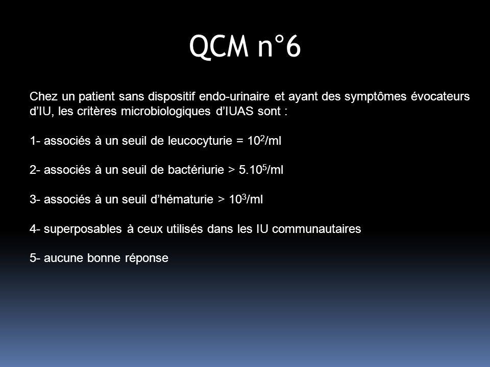 QCM n°6 Chez un patient sans dispositif endo-urinaire et ayant des symptômes évocateurs d'IU, les critères microbiologiques d'IUAS sont :