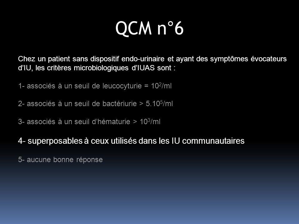 QCM n°6 4- superposables à ceux utilisés dans les IU communautaires