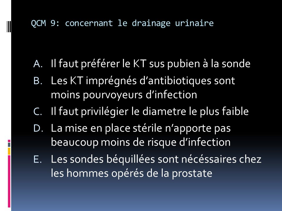 QCM 9: concernant le drainage urinaire