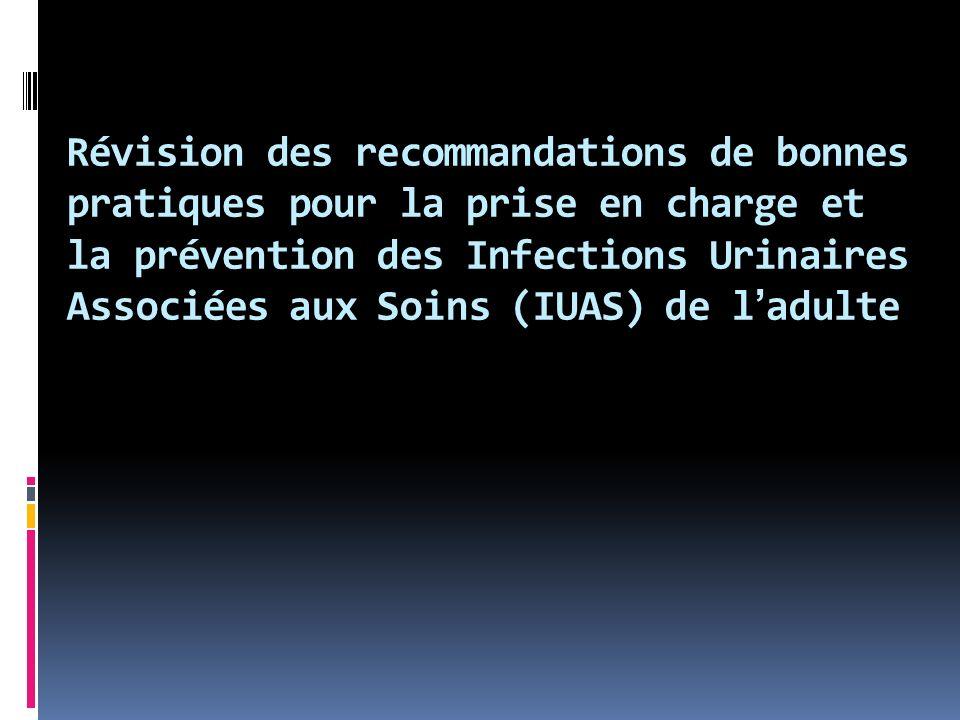 Révision des recommandations de bonnes pratiques pour la prise en charge et la prévention des Infections Urinaires Associées aux Soins (IUAS) de l'adulte
