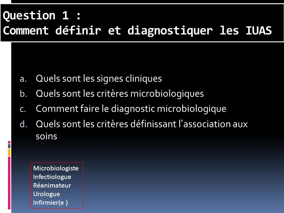 Question 1 : Comment définir et diagnostiquer les IUAS