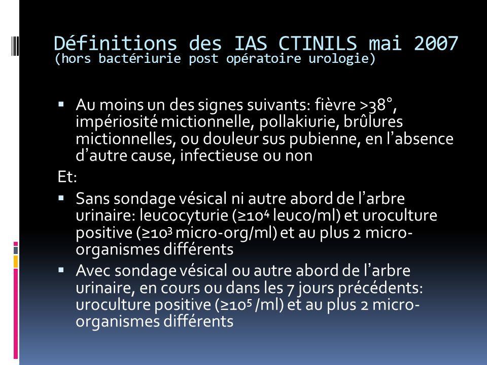 Définitions des IAS CTINILS mai 2007 (hors bactériurie post opératoire urologie)