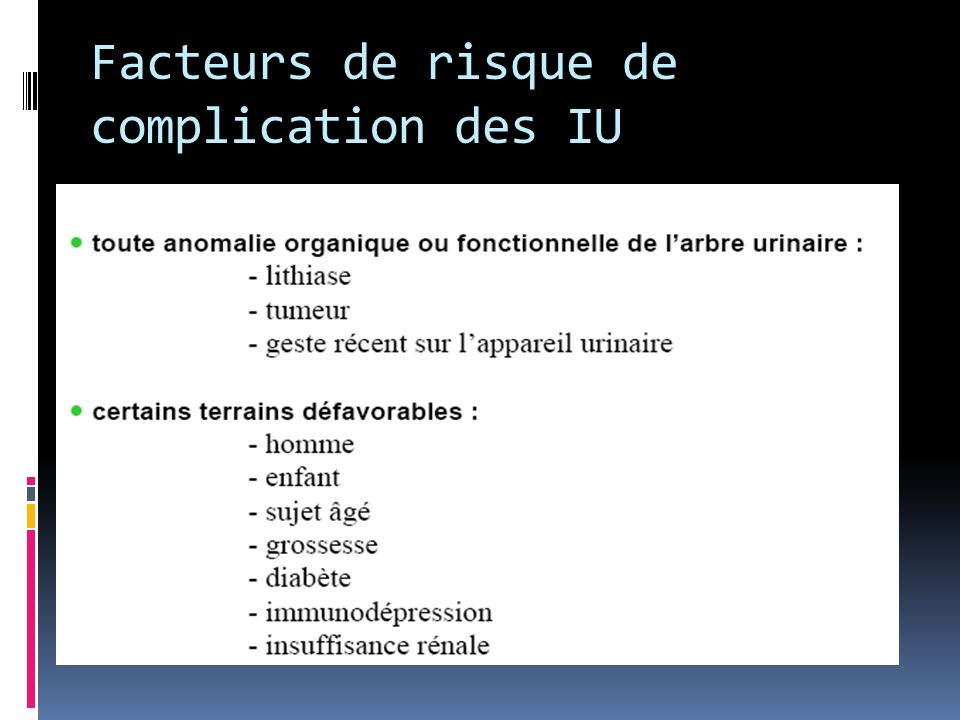 Facteurs de risque de complication des IU