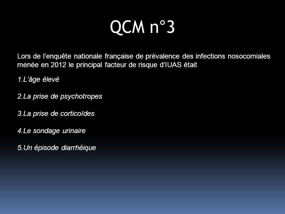 QCM n°3 Lors de l'enquête nationale française de prévalence des infections nosocomiales menée en 2012 le principal facteur de risque d'IUAS était.