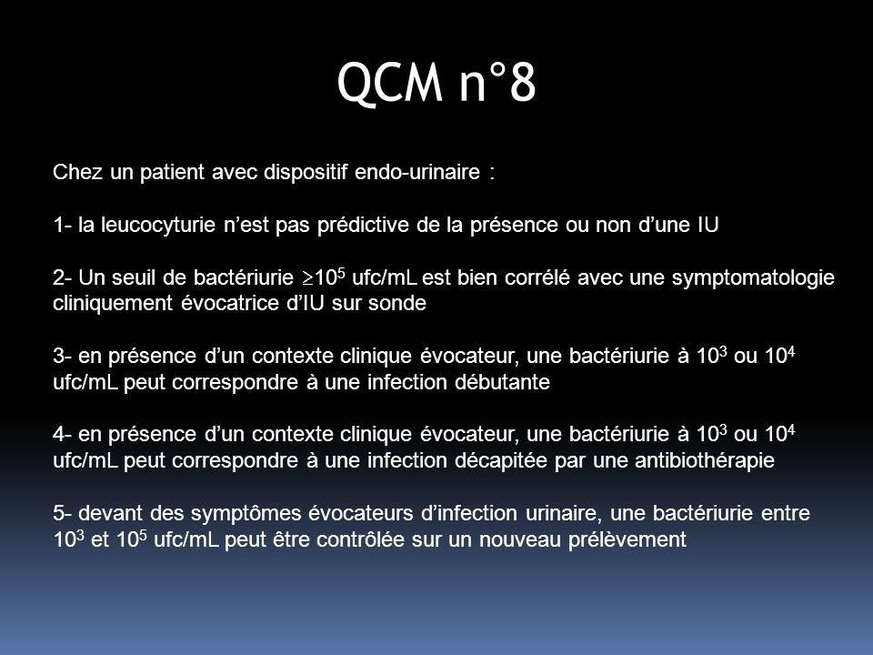 QCM n°8 Chez un patient avec dispositif endo-urinaire :