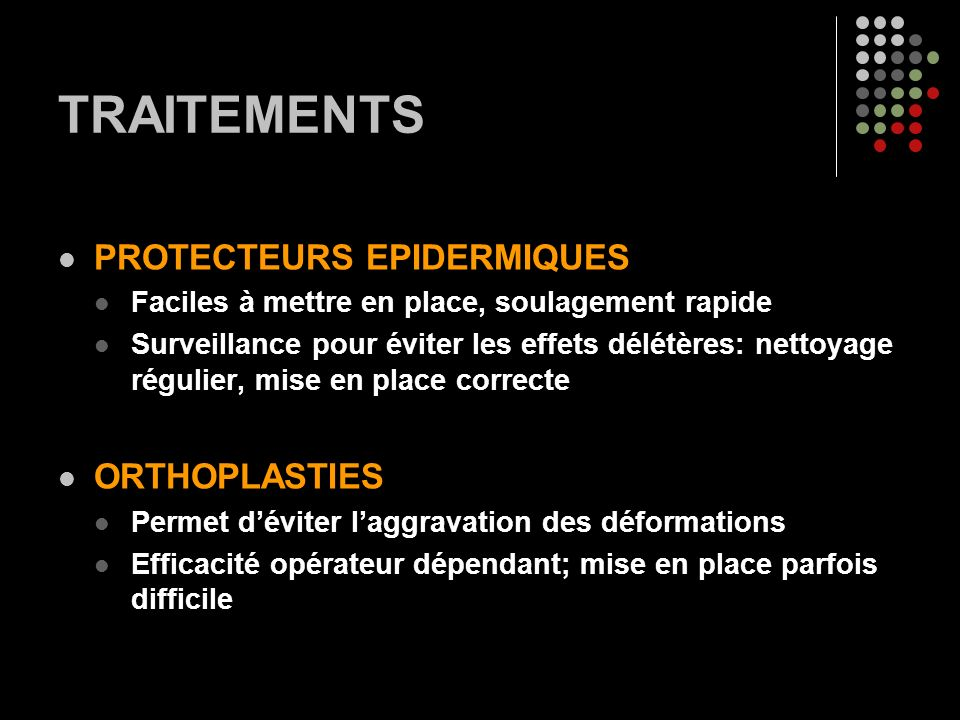 TRAITEMENTS PROTECTEURS EPIDERMIQUES ORTHOPLASTIES