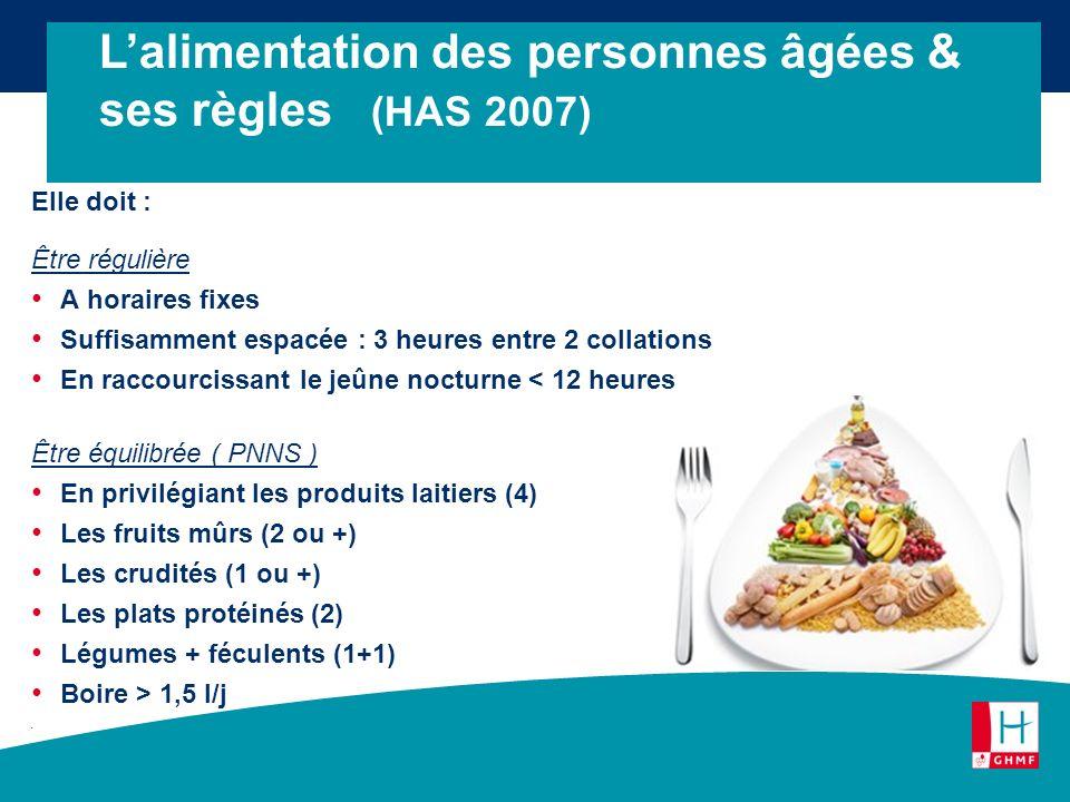 L'alimentation des personnes âgées & ses règles (HAS 2007)