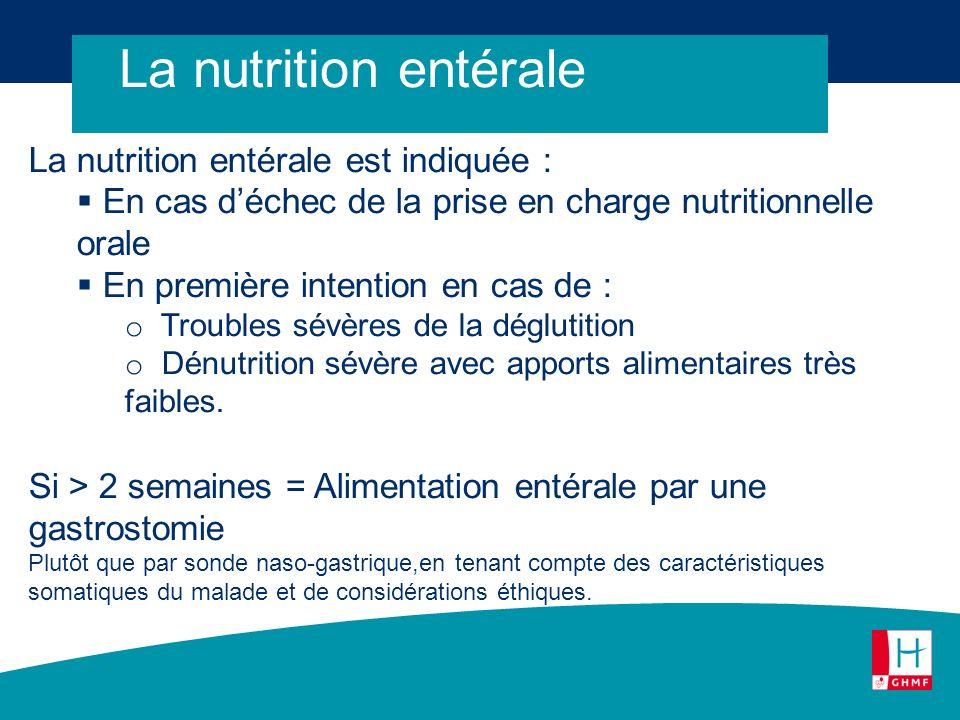 La nutrition entérale La nutrition entérale est indiquée :