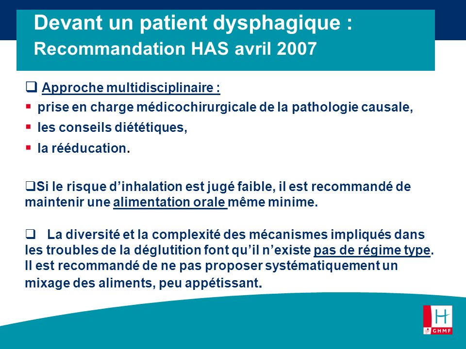 Devant un patient dysphagique : Recommandation HAS avril 2007