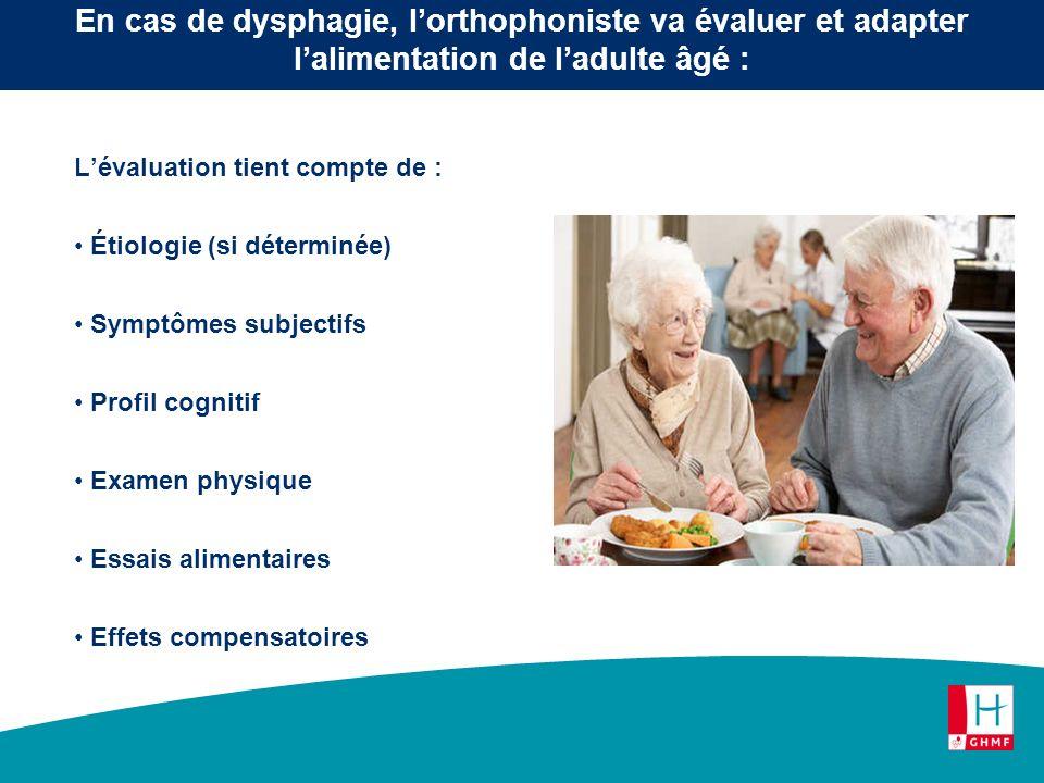 En cas de dysphagie, l'orthophoniste va évaluer et adapter l'alimentation de l'adulte âgé :