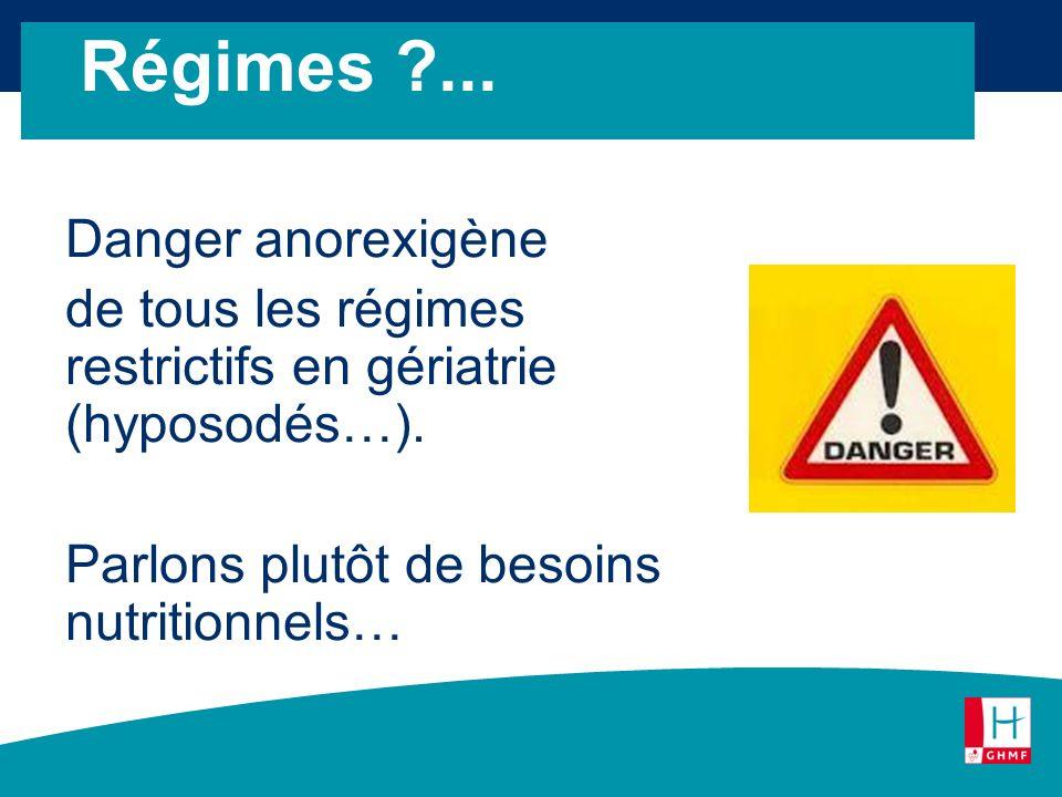 Régimes ... Danger anorexigène de tous les régimes restrictifs en gériatrie (hyposodés…).
