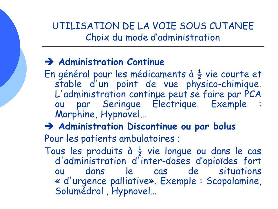 UTILISATION DE LA VOIE SOUS CUTANEE Choix du mode d'administration