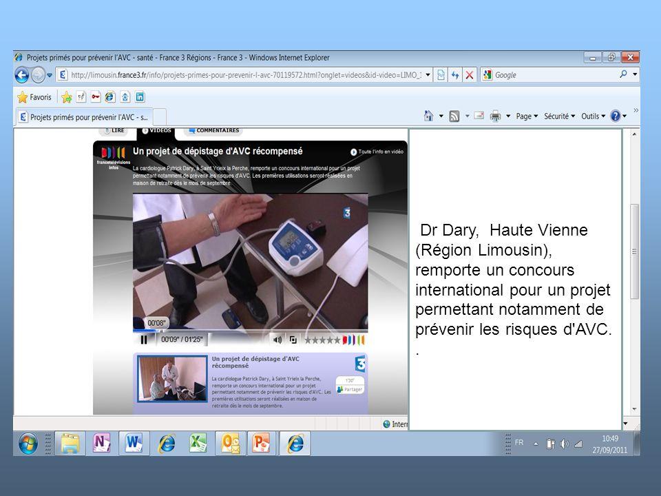 k Dr Dary, Haute Vienne (Région Limousin), remporte un concours international pour un projet permettant notamment de prévenir les risques d AVC.