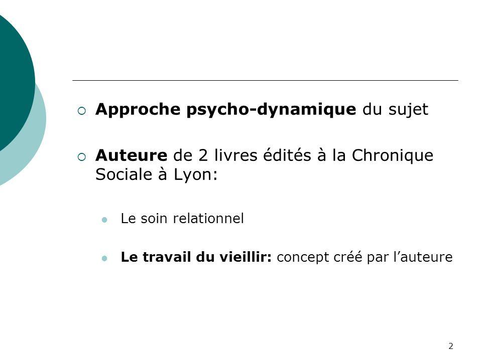Approche psycho-dynamique du sujet