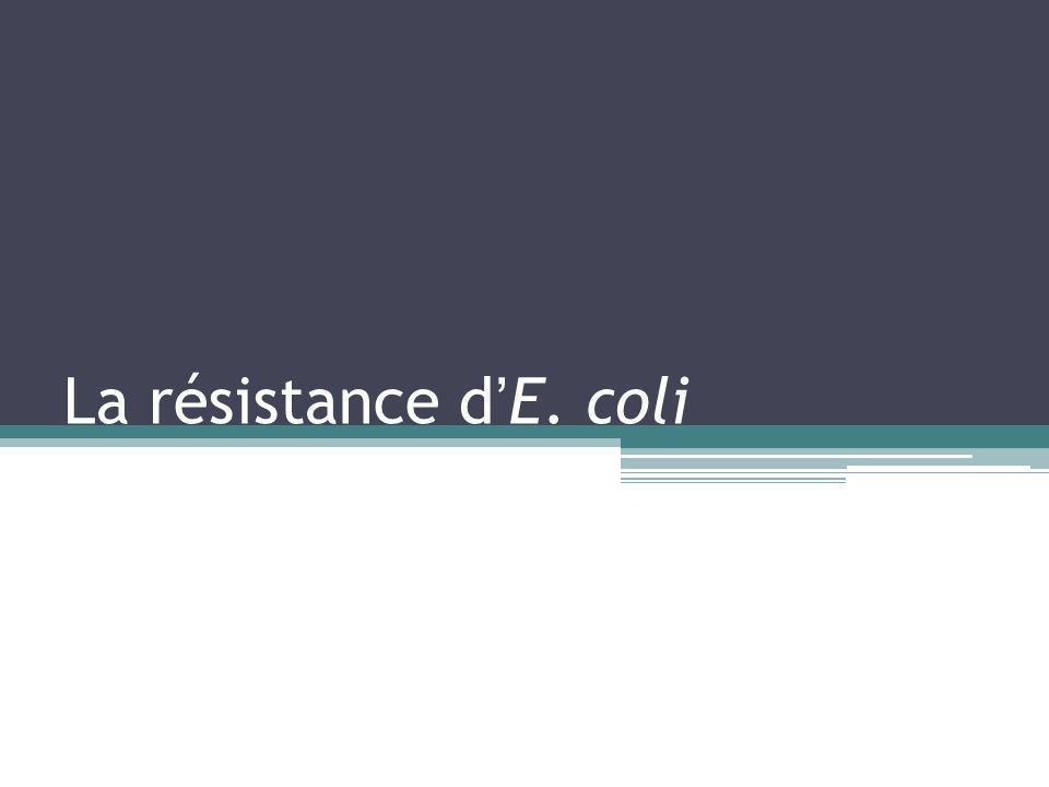La résistance d'E. coli
