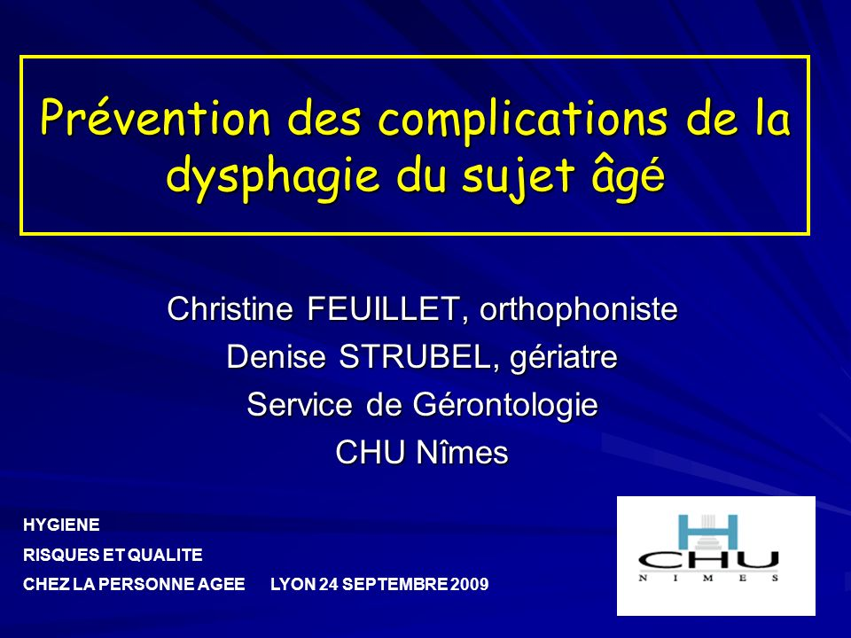 Prévention des complications de la dysphagie du sujet âgé