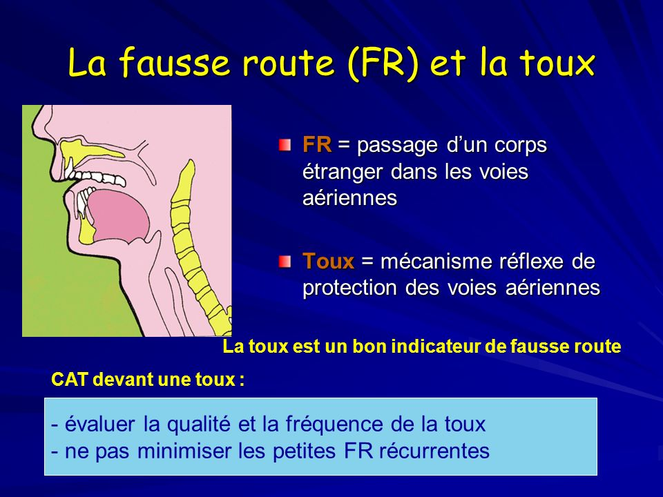 La fausse route (FR) et la toux